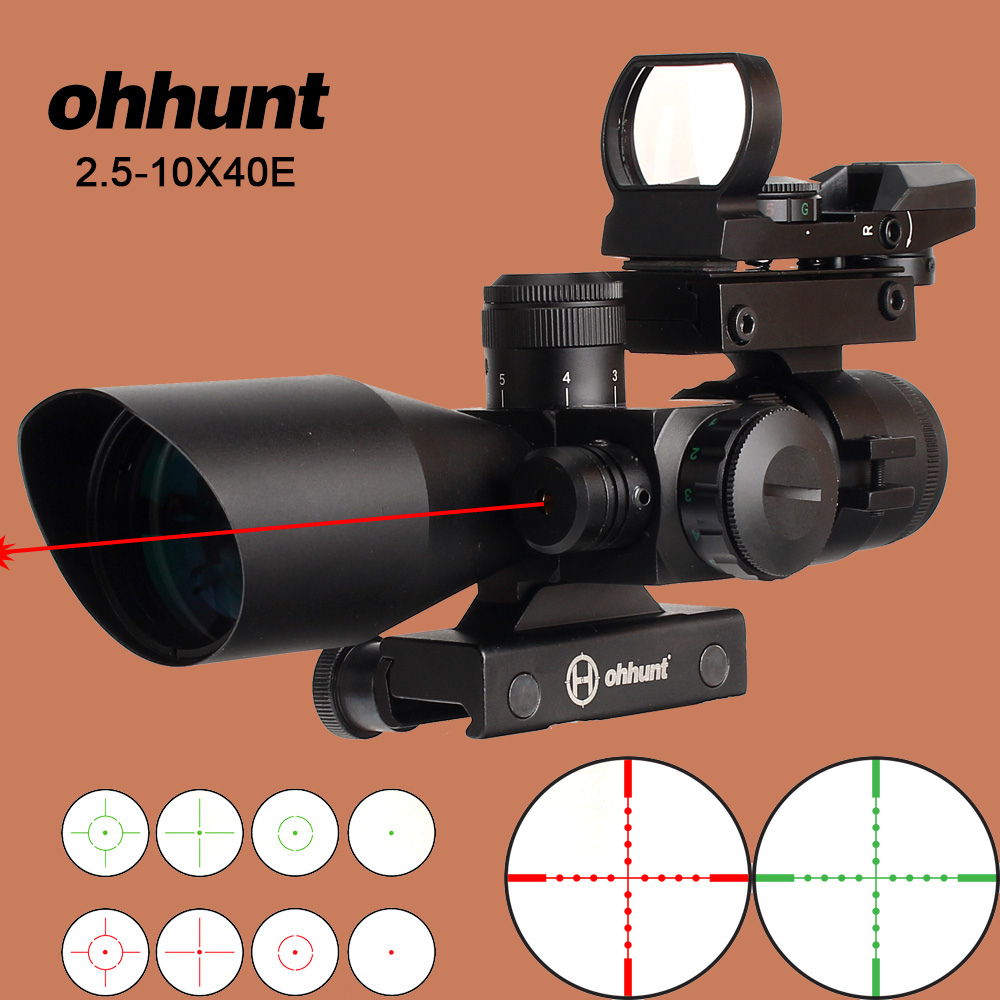 ohhunt Hunting Riflescope 2 5 10X40E Tactical Opticsl Combination Sights with Red Laser Sight and Red