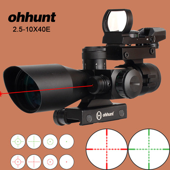 ohhunt Hunting Riflescope 2.5-10X40E Tactical Opticsl Combination Sights with Red Laser Sight and Red Dot Rifle Scope 20mm Rail