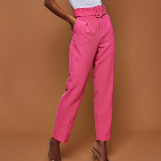 Casual Pants High Waist Autumn Belted Straight Leg Slacks Office Lady Suit Pants Women Trousers