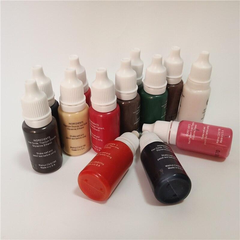 10pcs tattoo ink kit tattoo pigment set 15ml permanent makeup colors lip eyebrow eyeliner