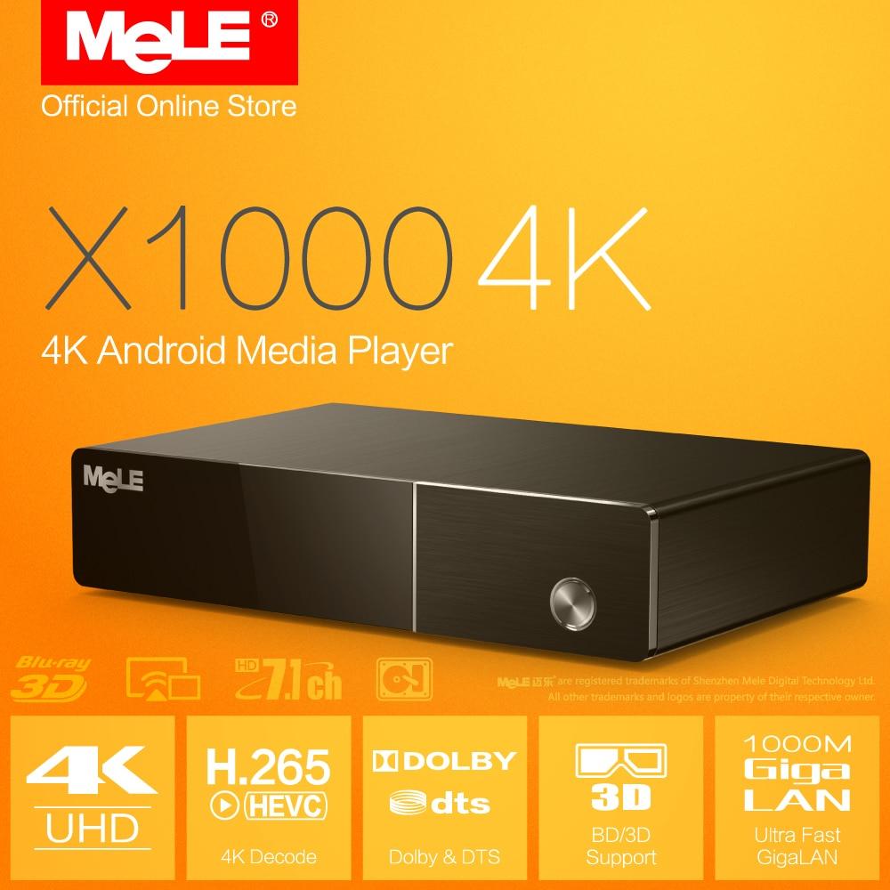 Mele X1000 4K Android Media Player Realtek 1195 4K Display H.265 HDMI 1.4 ISO BD