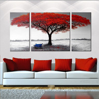 Handpainted Modern Canvas Wall Art Abstract Red Tree Oil Painting 3 Piece Abstract Art For Home
