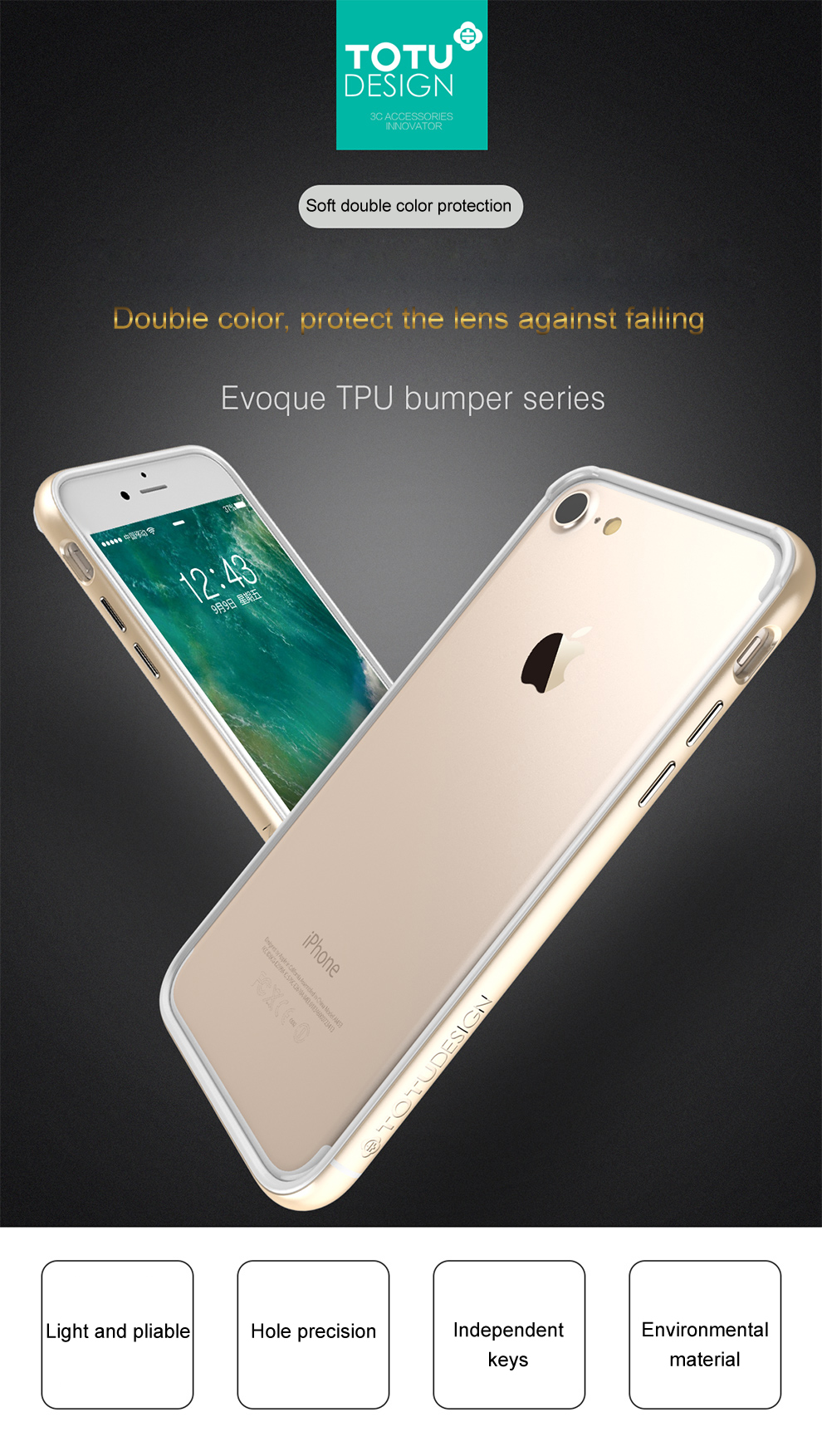 Totu Bumper Case For Iphone 8 7 Plus Coque Soft Tpu Pc Design Crystal Color Dark Blue Apple Shell Product Description Aeproductgetsubject