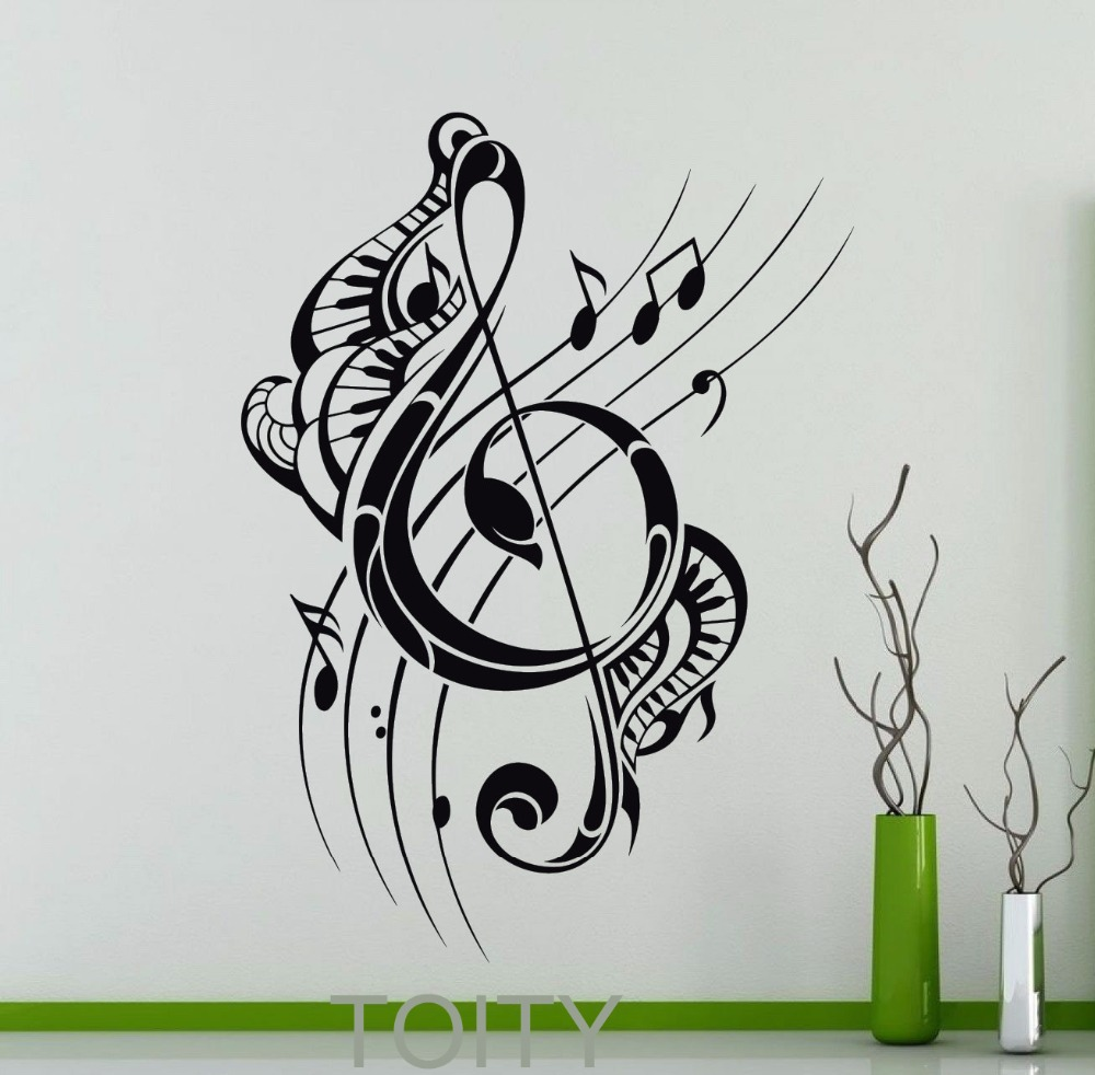 Treble Clef Wall Decal Musical Notes Music Recording Studio Vinyl ...