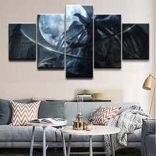 Painting On Canvas Wall Art Framework Home Decor HD Printed 5 Panel Game Bloodborne At night Warrior Modular Pictures Poster