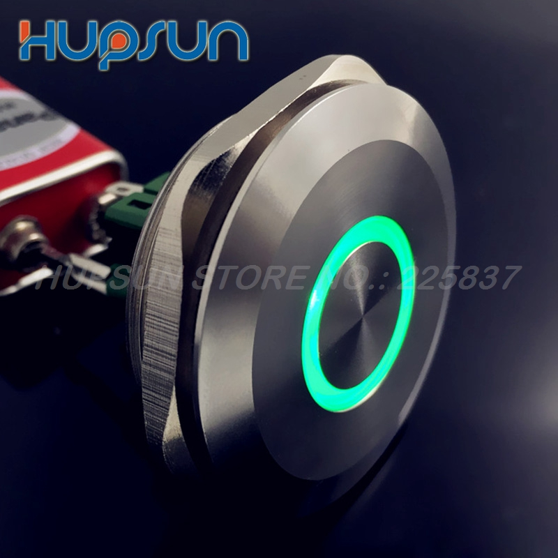 high quality waterproof 5v 12v stainless steel 40mm LED push button switch latching power buttons electronic engine start button