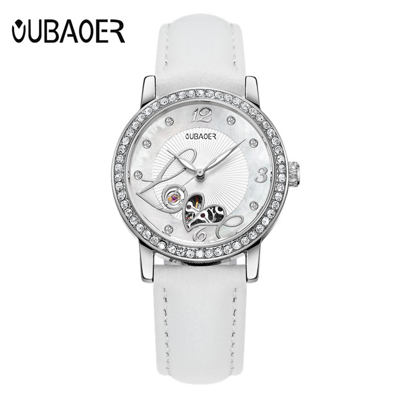 OUBAOER Original Brand Women Mechanical watch Automatic Self-Winding Ladies watches Genuine Leather Fashion Clock Women Watches