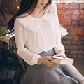 Fashion female elegant white blouses Chiffon Doll collar Casual Shirt Ladies tops school blouse Women Lolita Shirt Plus B4336