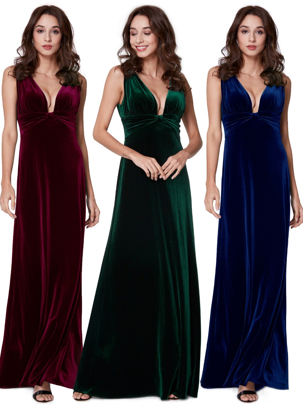 Elegant New Year Velvet Long Evening Dresses Ever Pretty EP07182 Sexy Double V Neck Christmas Evening Dresses 2019 Formal Gowns
