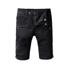 Man Denim Shorts 2017 New Style High Quality 100% Cotton Casual Vintage Black Taschen Biker Jeans Sommer Balma Denim Shorts