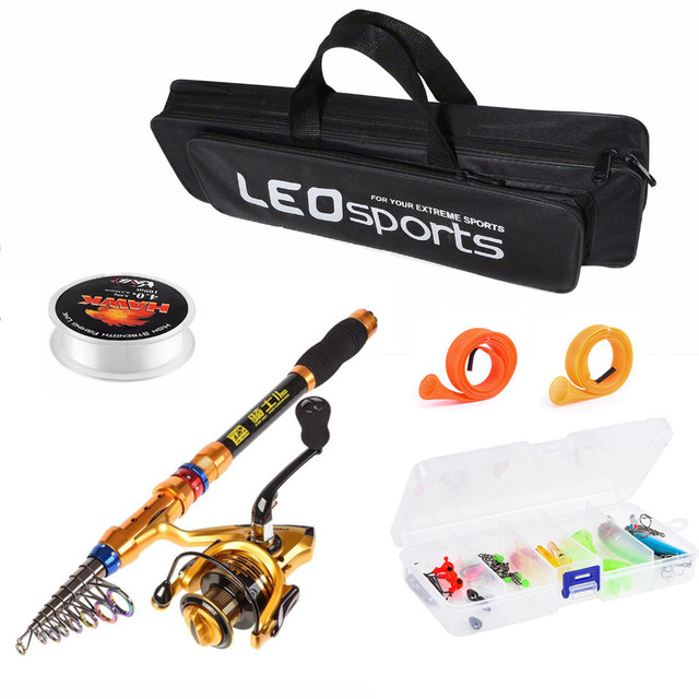 2019 Hot 1.8m-3.6m Carbon Fiber Telescopic Fishing Rod Combo Full Kit Spinning Fishing wheel Line Accessories Set with Bag