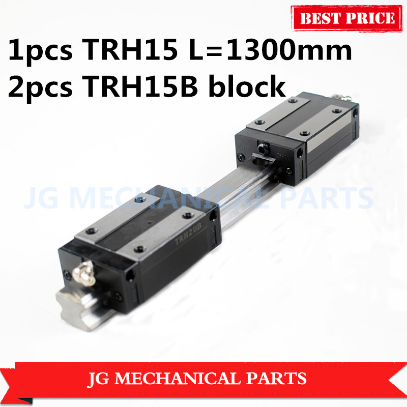 цена на High quality 1pcs 15mm width Linear Guide TRH15 L=1300mm linear rail +2pcs TRH15B carriages Slider Block Square block