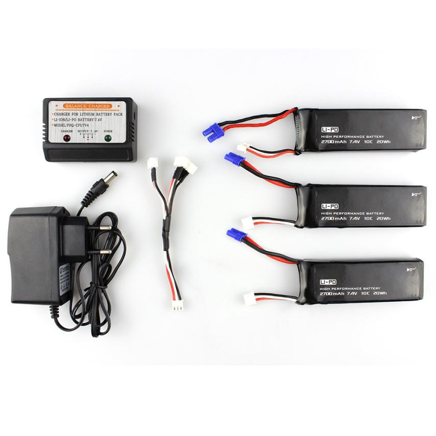 CHAMSGEND 3 pc Black 7.4V 2700MAH 10C Battery With EC2 Plug for Hubsan H501S X4 may 26 P30 accessories battery charger for quacopter 3 pc black 7 4v 2700mah 10c battery with ec2 plug for hubsan h501s x4 jy4
