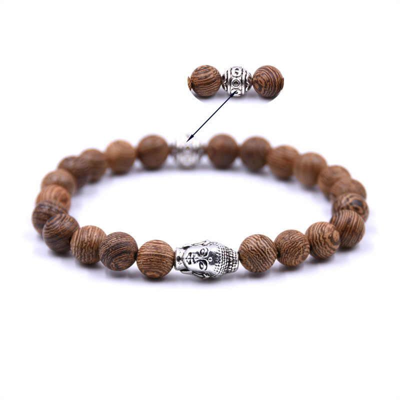 Pulsera de cuentas estilo Retro para hombres y mujeres cuentas de madera de alta calidad con Cabeza de Buda de plata religión pulseras de energía Homme Femme