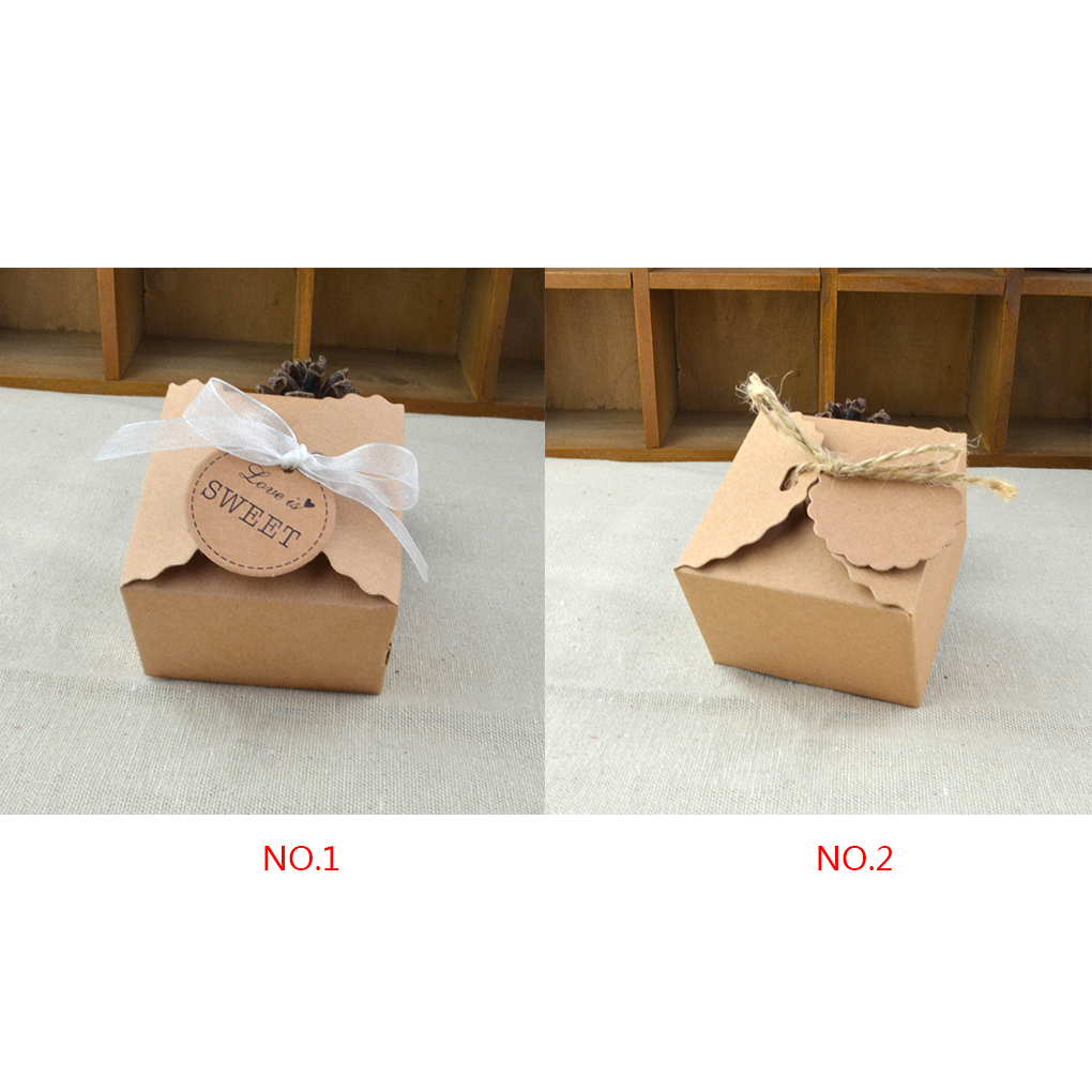 50pc Kraft Paper Candy Box with Ribbon Hanging Card Wedding Birthday ...