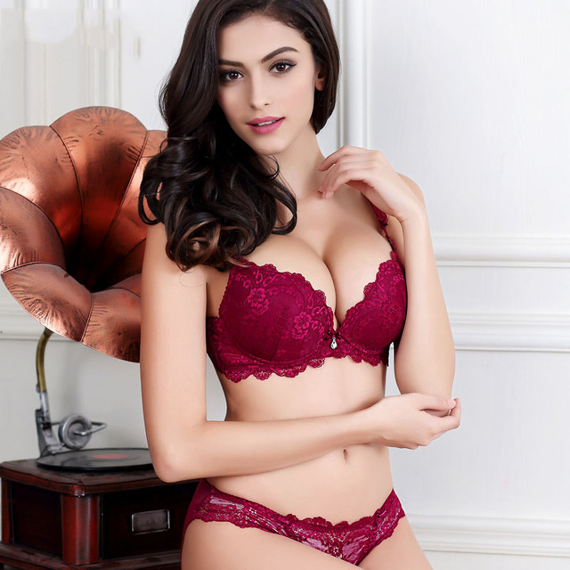 787b639784 2017 New Lace bra set 32 42 A B C D Plus Size Bra   Panties Sets Red ...