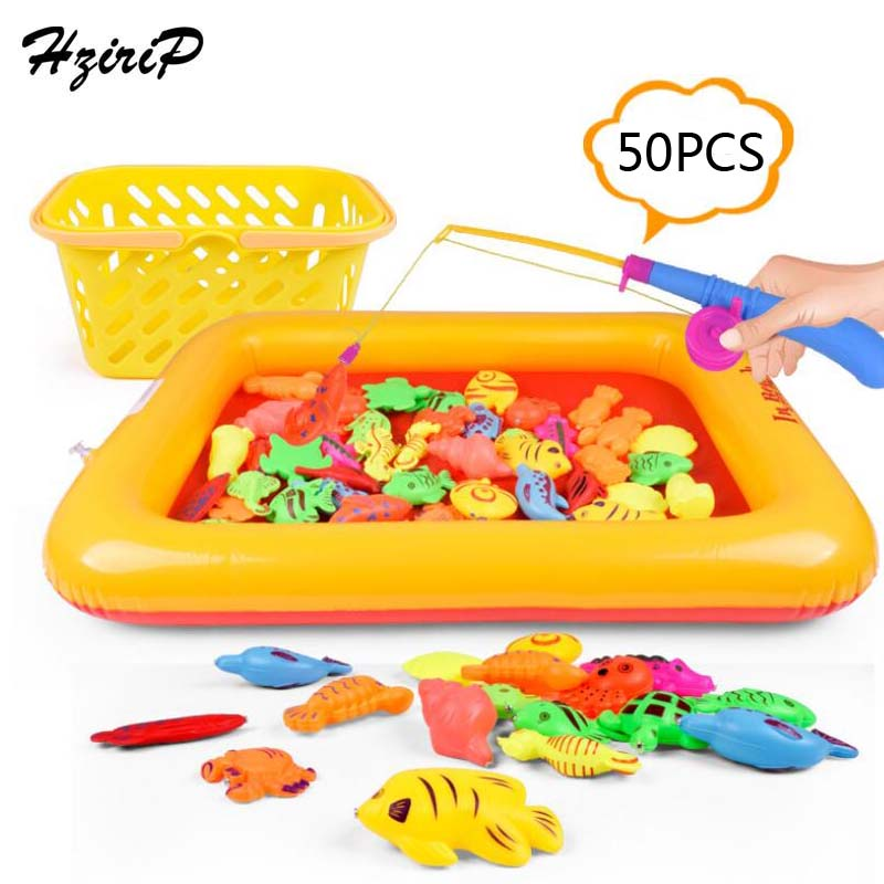 Fishing Toys Hzirip 50pcs/lot With Inflatable Pool Magnetic Baby Fishing Toy Game Simulation Fish Pond Outdoor Fishing Toys For Kids Gifts To Produce An Effect Toward Clear Vision Outdoor Fun & Sports