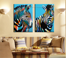 Fast Delivery Hand Painted Blue Zebra Oil Painting on Canvas High Quality Animals Paintings for Home Decor Wall Painting