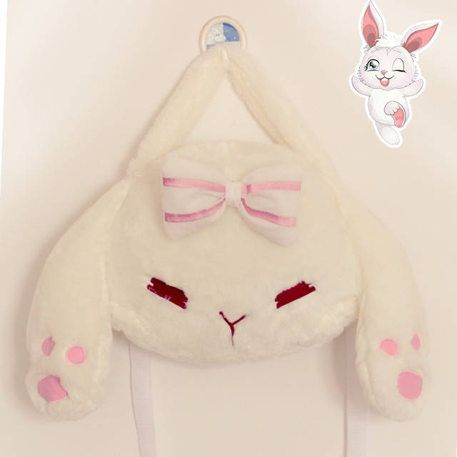 Lolita Pendurado orelhas de Coelho de Pelúcia Mochila Messenger Bag lovely Girl Japão Anime