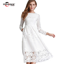 THUNDER STAR New European 2018 Spring Women's Lace Hollow Out Long Dresses Femme Casual Clothing Women Sexy Slim Party Dress LX4