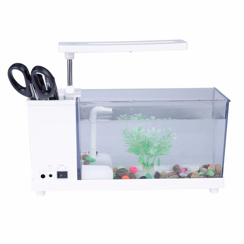 Mini Aquarium décontracté Aquarium Nouvel Aquarium Rassurant USB D'aquarium avec lampe à LED Lumière D'écran D'affichage À CRISTAUX LIQUIDES et Horloge Poisson Réservoir D30