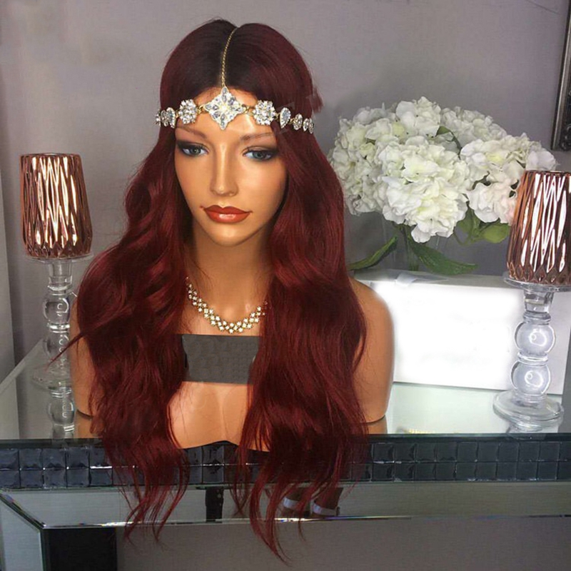 DLME Free Part Wavy Bob Heat Resistant Synthetic Hair Lace Front Wigs Glueless With baby Hair Burgundy Red wigs For women