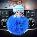Hat Monchichi Key Chain Sleutelhanger Strass Keyring Fluffy Ribbit Fur Ball Pom Pom Women Bag Charm Porte Clef K002-blue
