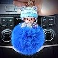 Sombrero Monchichi Sleutelhanger Strass Cadena Dominante Llavero Esponjoso Ribbit Pieles Bola de Pom Pom Mujeres Bolsa Encanto Porte Clef K002-blue