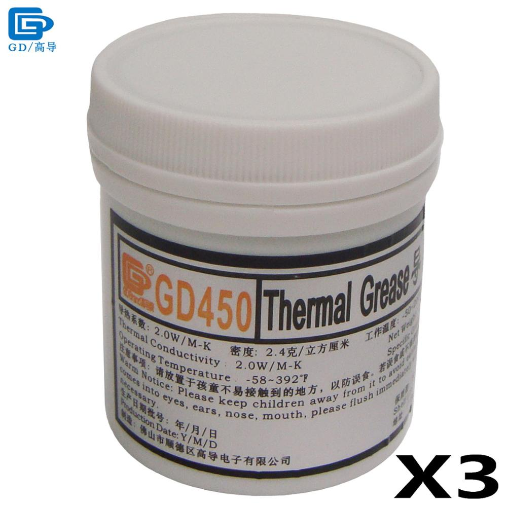 GD450 Thermal Conductive Grease Paste Silicone Plaster Heat Sink Compound 3 Pieces Net Weight 100 Grams Golden For LED CPU CN100