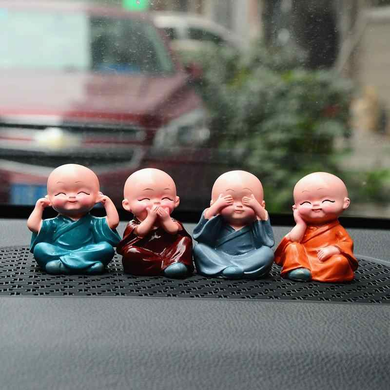 Lovely Small Kungfu Creative Maitreya Resin Little Monks Buddha Kung Fu Small Ornaments  Home  Accessories Doll