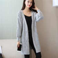 Autumn Winter New Arrivals Korean Loose Big Yarn Knitwear Women Clothing Twist Long Cardigans and Sweaters Thick Warm Outerwear