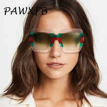 PAWXFB Luxury Italy Brand Oversized Square Sunglasses Women Retro Designer Sun Glasses Female Famous Celebrity Eyeglasses
