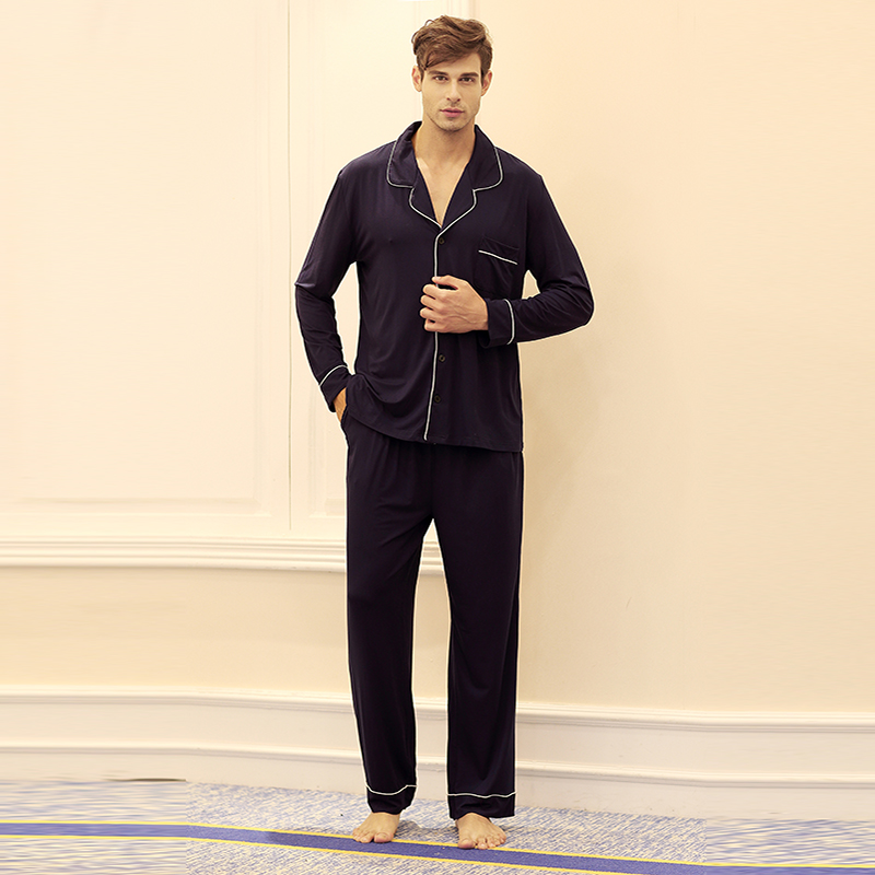 Mens And Womens Bamboo Modal Cotton Jersey Sleepwear Home Wear Loungewear Button-down Pajama Sets With Long Pants