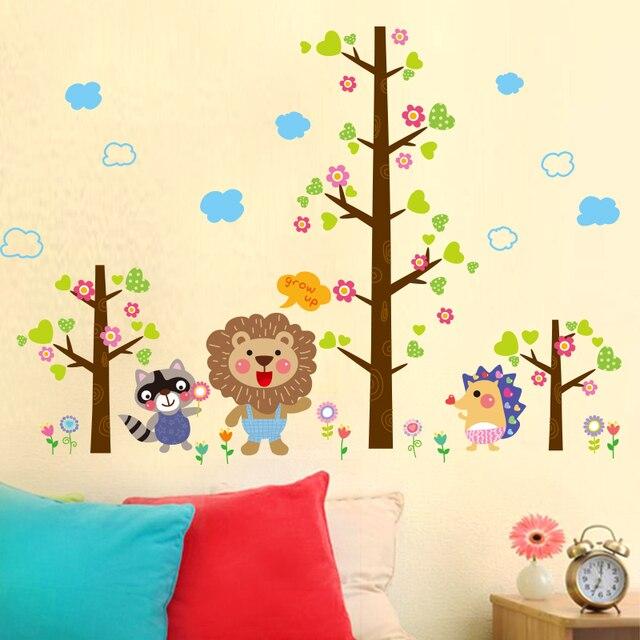 Tree Wall Stickers cartoon lion baby room children\'s room nursery ...