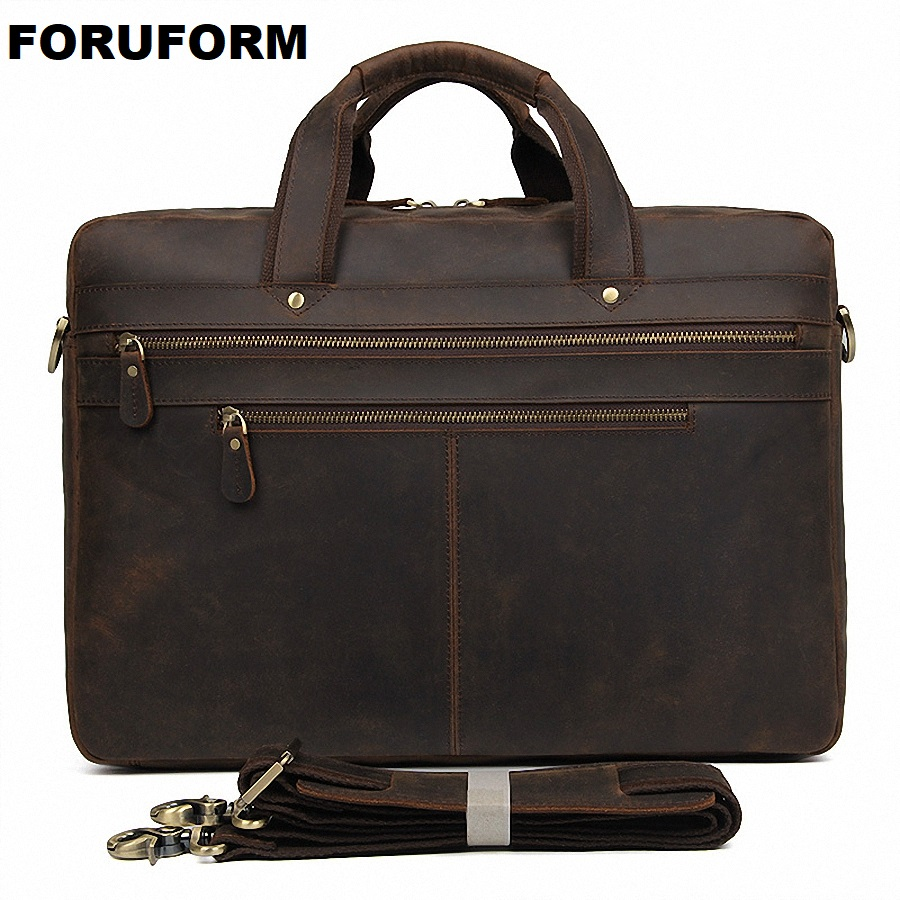 Men Briefcase Crazy Horse Leather Handbags Office Bags for Mens Messenger Bag Men Laptop Bag Briefcases Genuine Leather LI-2210 ylang vintage crazy horse cowhide briefcases men messenger bags 15 laptop handbags genuine leather briefcase business bag