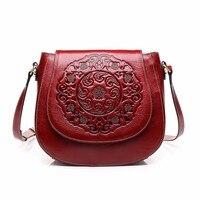 New Leather Genuine Leather Retro Handbag Shoulder Bag Small Round Bag Messenger Bag Embossed Fashion Wind