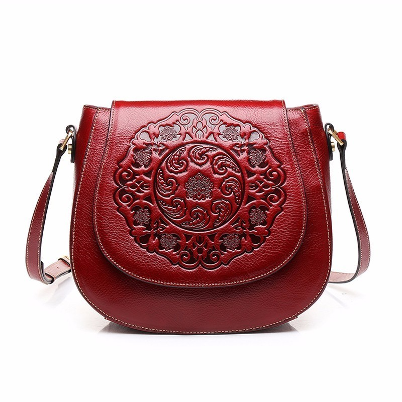 new leather Genuine Leather retro handbag shoulder bag small round bag Messenger bag embossed Fashion wind bag genuine leather bag free delivery women bag ethnic retro embossed handbag originality shoulder messenger bag