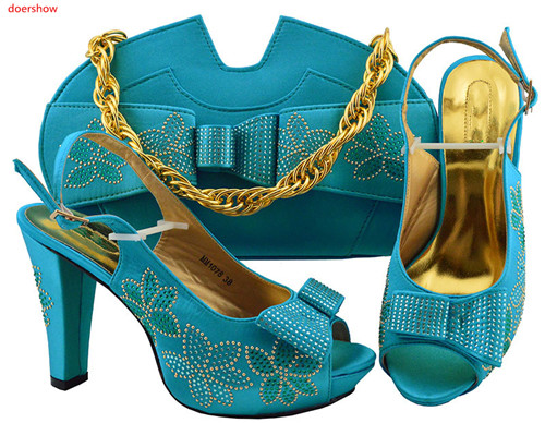 doershow Women s.blue Shoes and Bags To Match Set Sale Shoes and Bags low Heel Sandals Women Italian African Party Pumps!SLN1 13