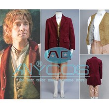 The Hobbit Bilbo Baggins Outfit Coat+Pants+Vest+Shirt For Adult Men Halloween Party Cosplay Costume Free Shipping