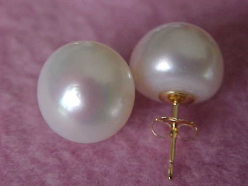 Free Shipping White Natural AAA 9-10mm South Seas Pearl Earrings With 14 K