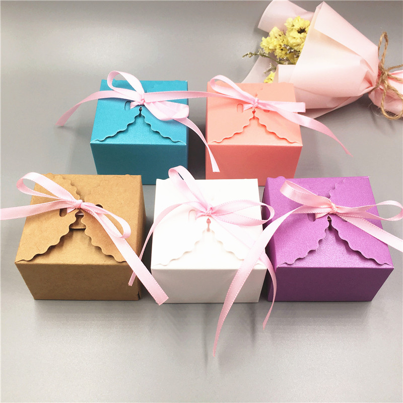 12Pcs/Lot Multi-color Lace Paper Cardboard Box for Jewelry/ Weeding Candy/ Valentine's <font><b>Day</b></font> Charm Gifts Carrying Packaging Boxes image