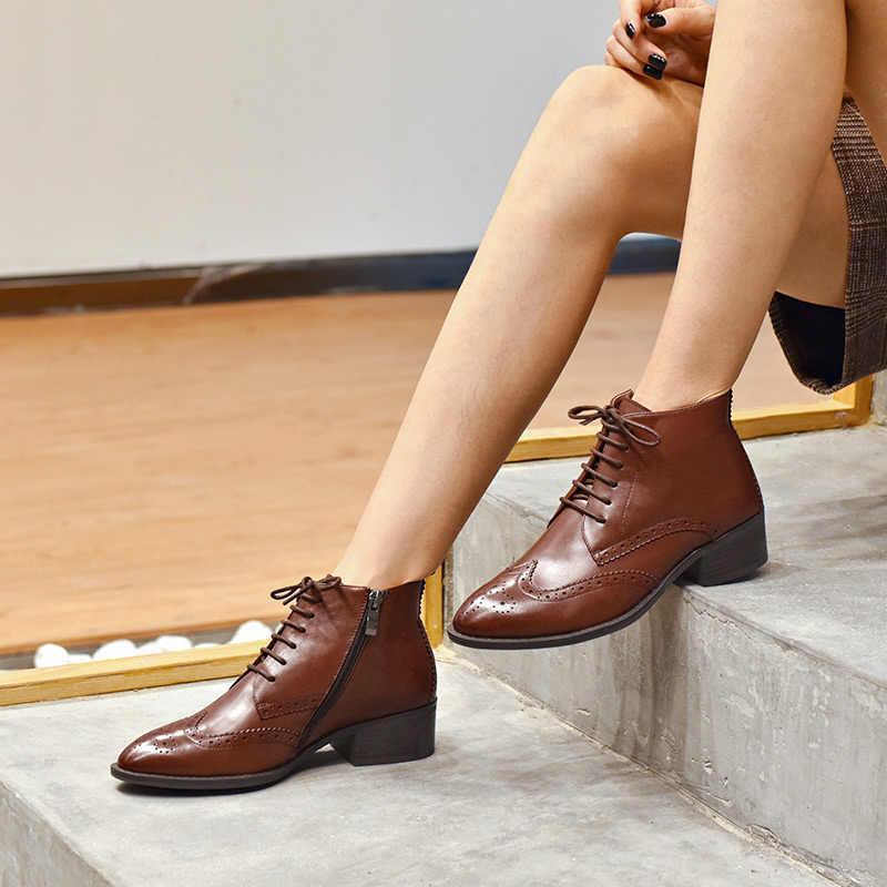 BeauToday yarım çizmeler Kadın Marka Brogue Tarzı Wingtip Lace-Up Hakiki Buzağı Deri Bayan Ayakkabı El Yapımı 03233