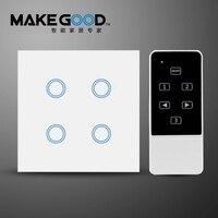MakeGood EU Standard Touch Switch 4 Gang 1 Way Crystal Glass Panel Wall Switch AC 110