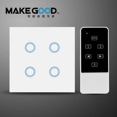 MakeGood UK Standard commutateur tactile 4 Gang 1 voie, panneau de verre de cristal interrupteur mural AC 110-250 V/1000 W pour la lumière + indicateur LED