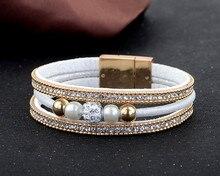 Hot Sparkling Full Rhinestone Belt Buckle  Magnetic Leather bracelets & bangles Women Statement Pulsera Mujer Bijoux
