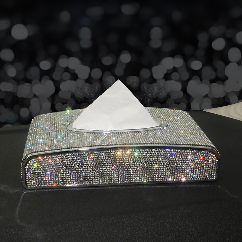 Rhinestone Car Tissue Box Diamond Crystal Auto Luxury Tissue Holder Block-type Tissue Box Car Styling Diamante Bling Cover Women