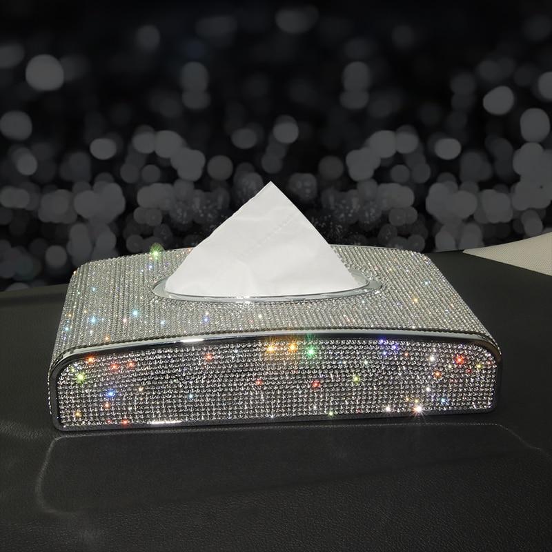 Rhinestone Car Tissue Box Diamond Crystal Auto Luxury Tissue Holder Block type Tissue Box Car Styling Diamante Bling Cover Women|Tissue Boxes| |  - title=