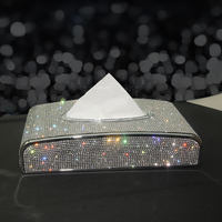 Strass caixa de tecido do carro de cristal de diamante suporte de tecido de luxo automático bloco tipo caixa de tecido estilo do carro diamante bling capa feminina Caixas de tecido     -