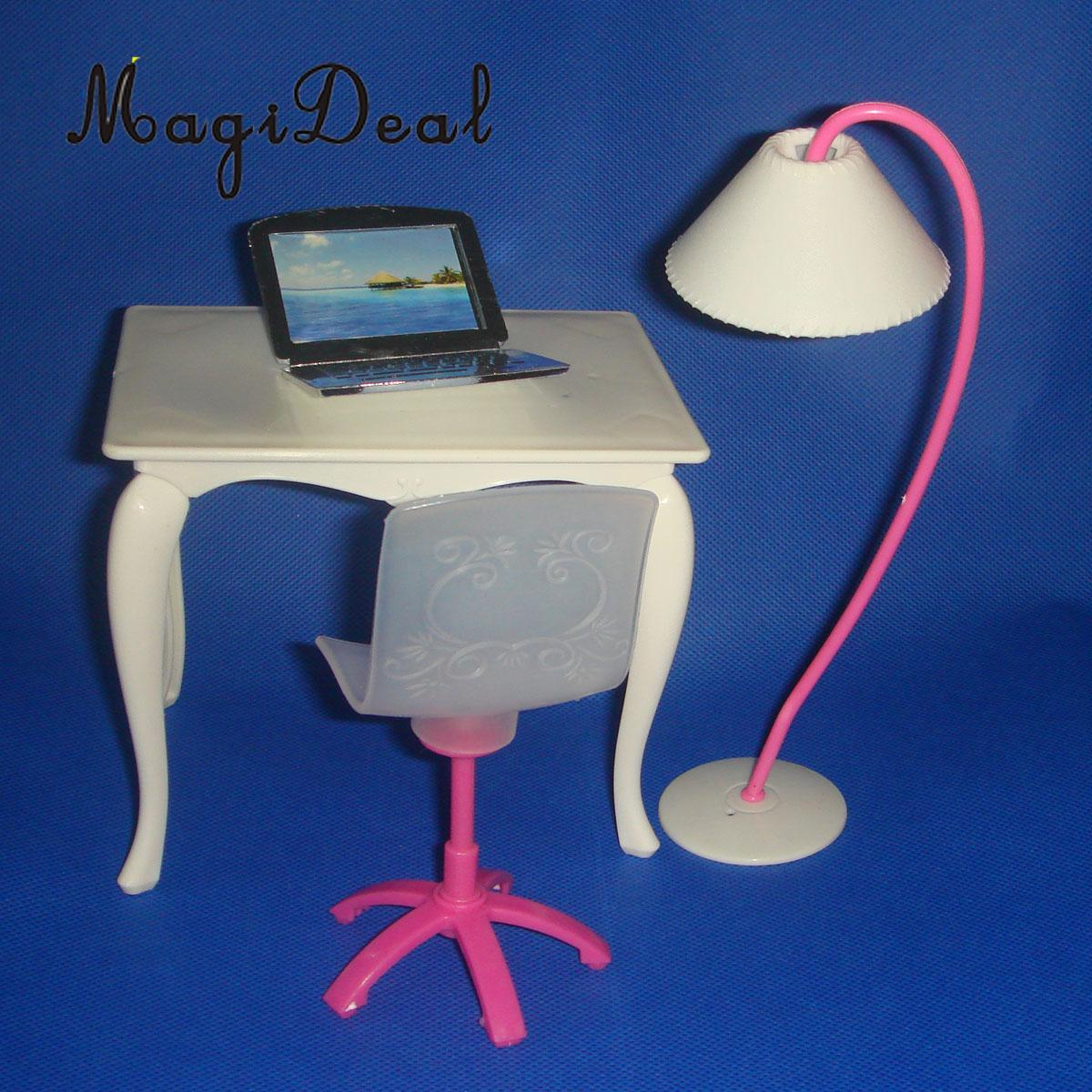 MagiDeal Hot Sale 4pcs/Set Office Acce Dining Table Chair PC Lamp Random Color for 29cm Dolls Dollhouse Furniture Child Toy