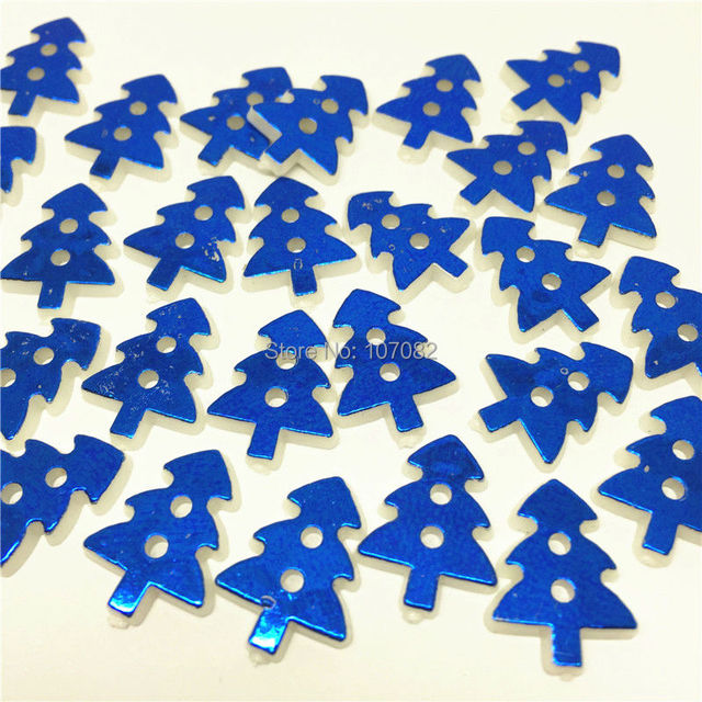 300pcs Metallic Royablue Color Surface Christmas Tree Buttons Resin